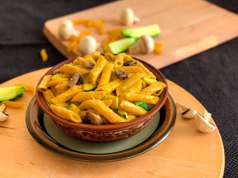Cashew cream Mushroom and Zucchini Pasta – Vegan