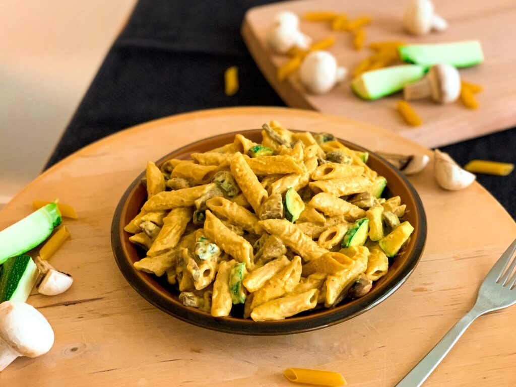 Cashew cream mushrooms and zucchini pasta recipe
