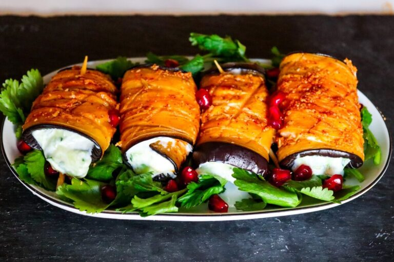 Vegan eggplant roll-ups appetizer – recipe