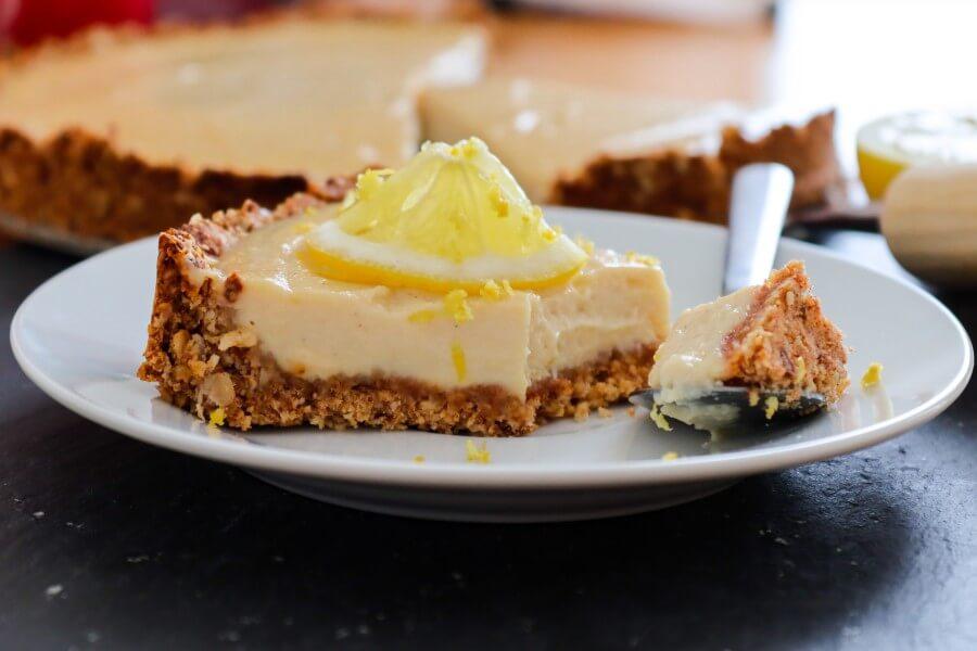 vegan, lemon, cheesecake, sugar-free, gluten-free, no cashews, with tofu