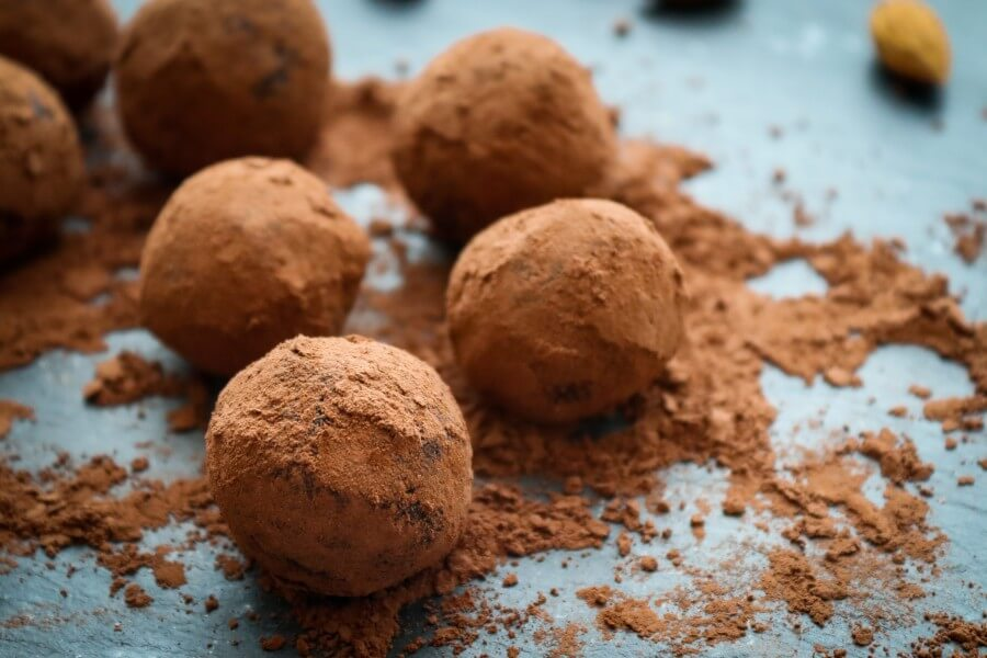 almond meal cacao bliss balls, healthy, vegan